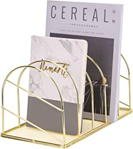 Simmer Stone File Sorter Organizer, 5 Section Magazine Holder Rack, Wire Desk Bookshelf for Mail, Document, Folder, Record and More, Creative Arched Shape, Gold