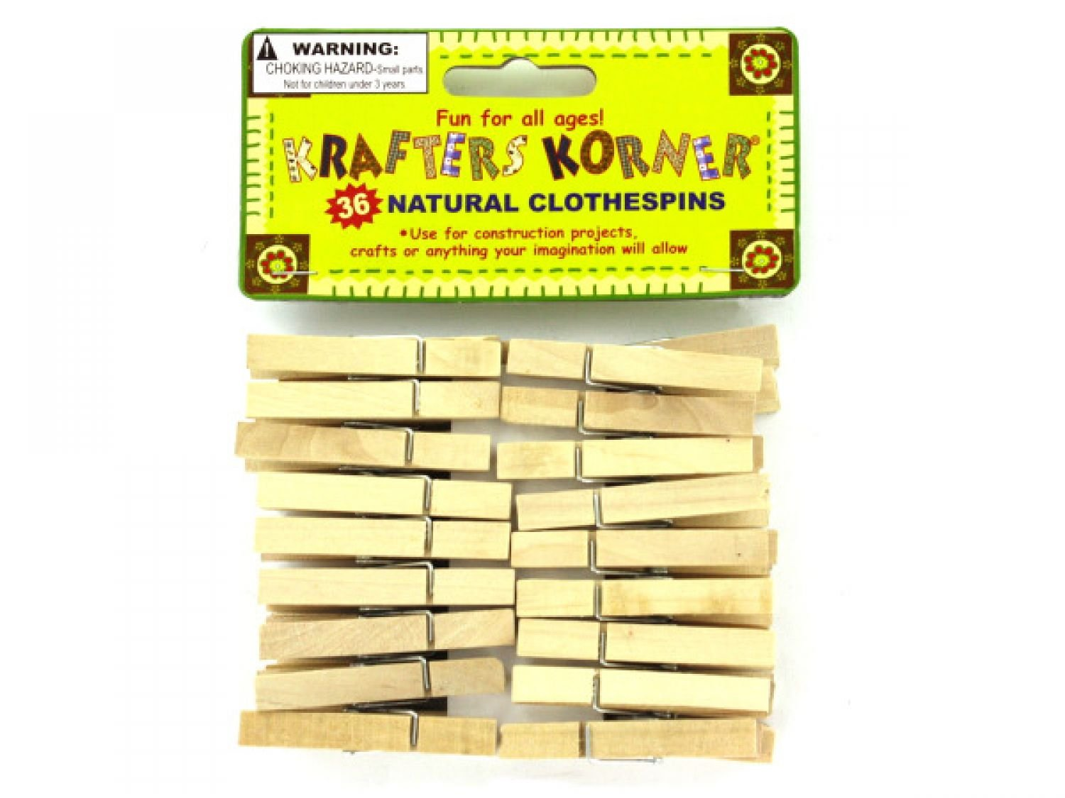 krafters korner Natural Wood Craft Clothespins - Set of 72, [Crafts, Craft Clothespins] by krafters korner (Image #1)