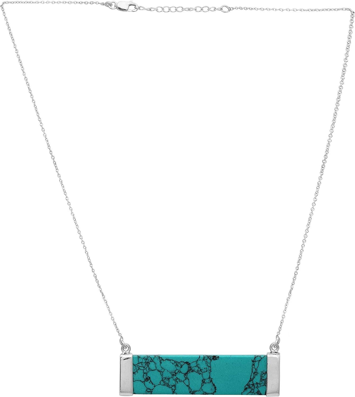 Shine Jewel Collar de Mujer con Piedras Preciosas Turquesa 925 Joyas de Plata