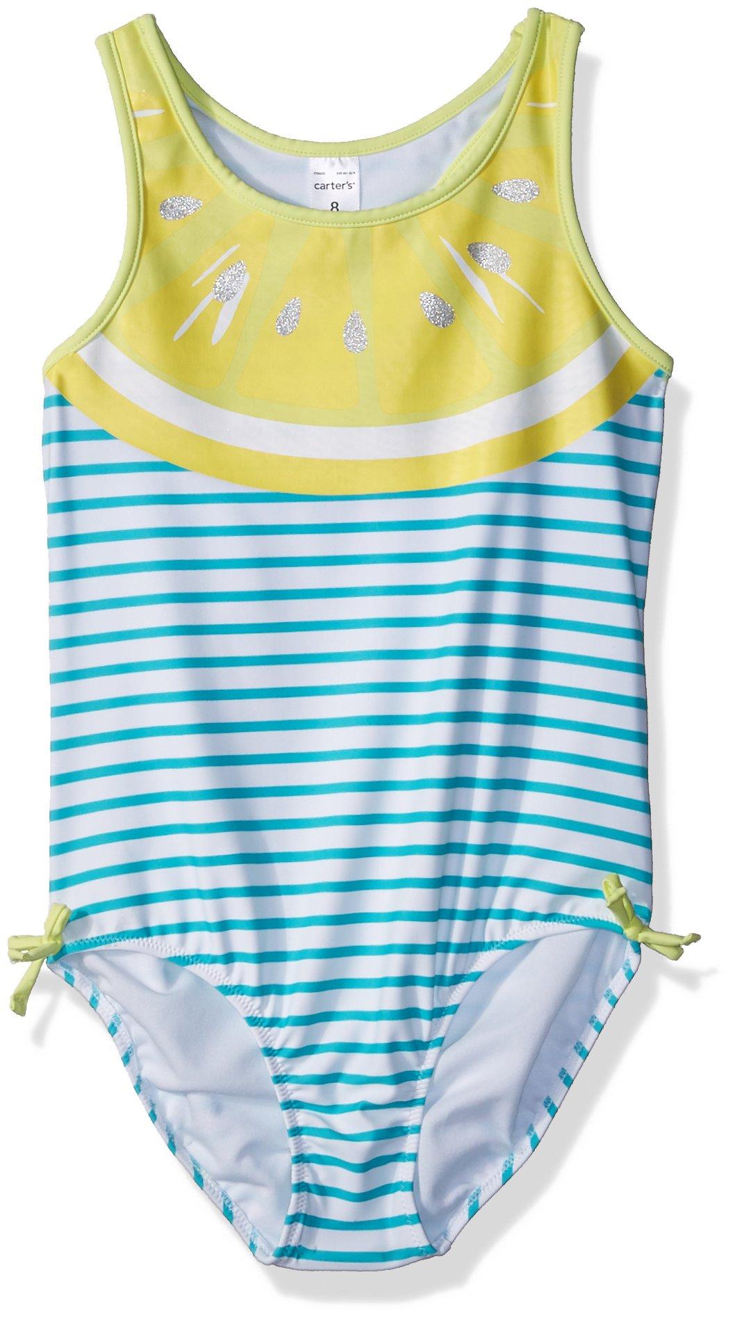 Carter's Girls' Toddler One Piece Swimsuit, Lemon Stripe, 4T