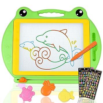 Umitive Pizarra Grande Magnética Colorido Tablero de Dibujo Infantil, Almohadilla Borrable Tablero Juguetes Educativos de Dibujar y Escritura con 2 ...