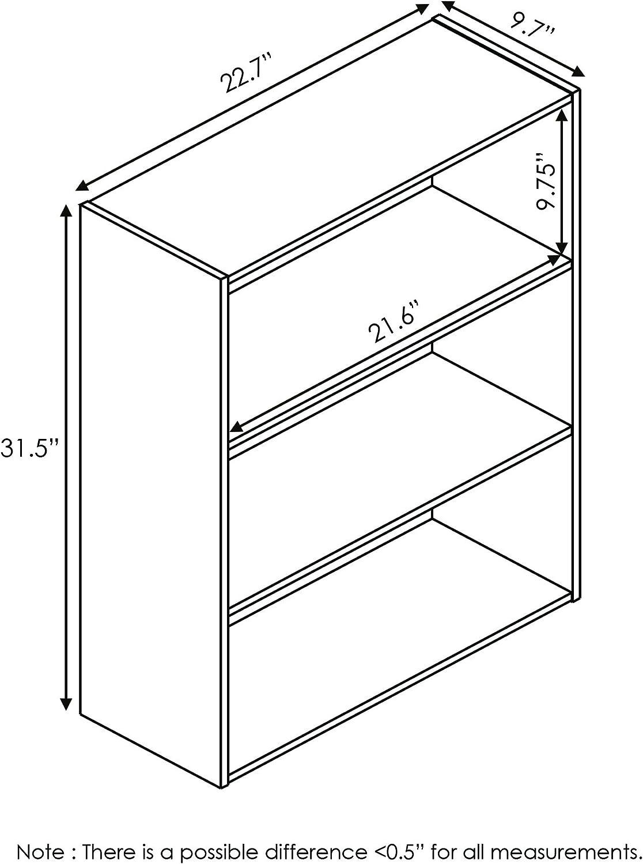 French Oak Grey Furinno 11208GYW Pasir 3-Tier Open Shelf Bookcase