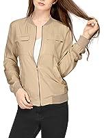 Allegra K Women's Multi-Pocket Zip Fastening Front Lightweight Bomber Jacket
