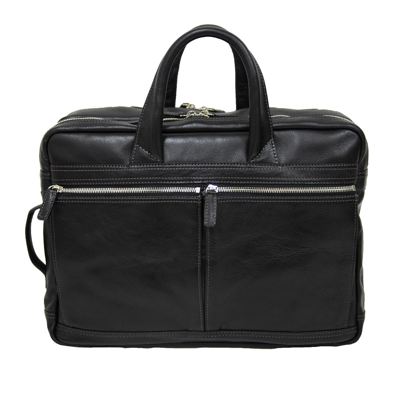本革 ビジネスバッグ メンズ リュック ビジネスリュック A4サイズ対応 アーバンワイドダブル3wayビジネスリュック 牛革 海老名鞄  ブラック B01M8NCWC5