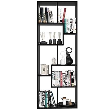 Meuble De Rangement Bureau Noir.Homfa Bibliotheque Salon Etagere Design Meuble De Rangement Bureau Etagere De Rangement En Bois 60 24 160cm Noir
