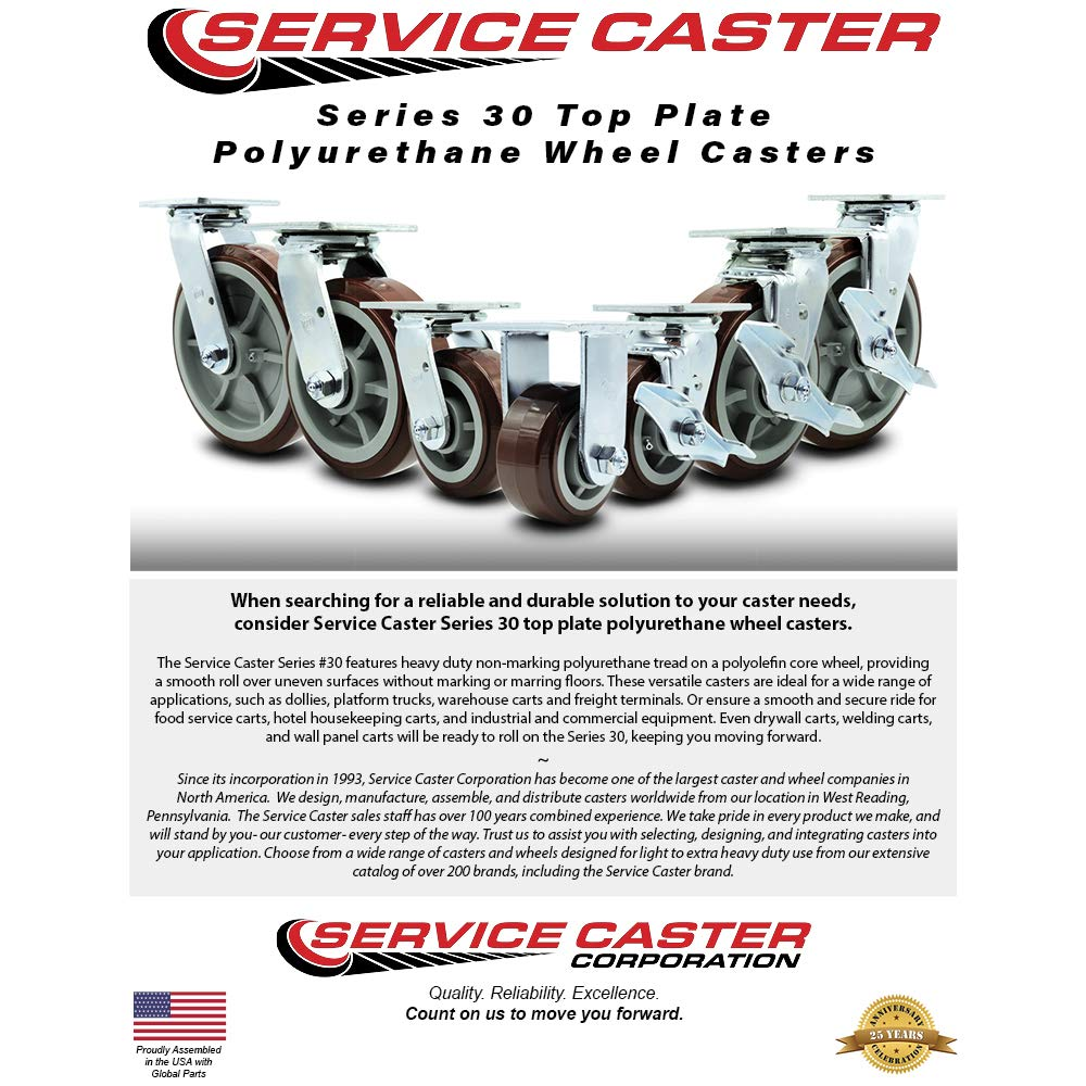 Service Caster - 4'' Heavy Duty Polyurethane Wheel Swivel Casters w/Top Locking Brakes - Non Marking - 500lbs/caster - Set of 4 by Service Caster (Image #3)