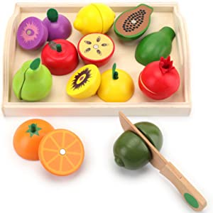 Yopay Wooden Cutting Food for Kids Toddlers, Pretend Play Food Set, Including 9 Cuttable Toy Veg with Wooden Knif and Tray, Magnetic Wood Vegetables, 2 Years Up, Early Educational Development Gift