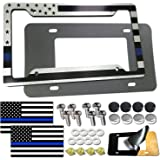AOOTF American Flag License Plate Frame- Personalized USA Car Tag Holder, 4 Hole Silver Thin Blue Line Heavy Duty Aluminum Co