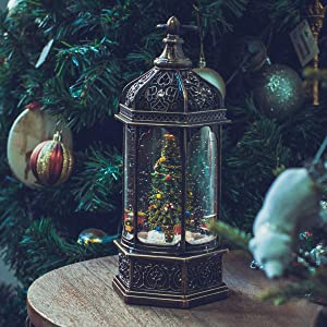 "Christmas Snow Globe Lantern 11"",USB & Battery Operated Lighted Swirling Glitter Water Lantern with Timer for Christma Home Decoration (Trees)"