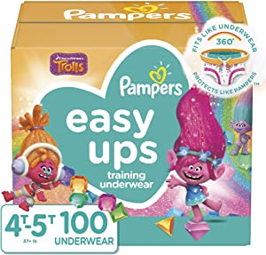 Pampers Easy Ups Pull On Disposable Potty Training Underwear for Girls and Boys, Size 6 (4T-5T), 100 Count, Enormous Pack (Packaging May Vary)