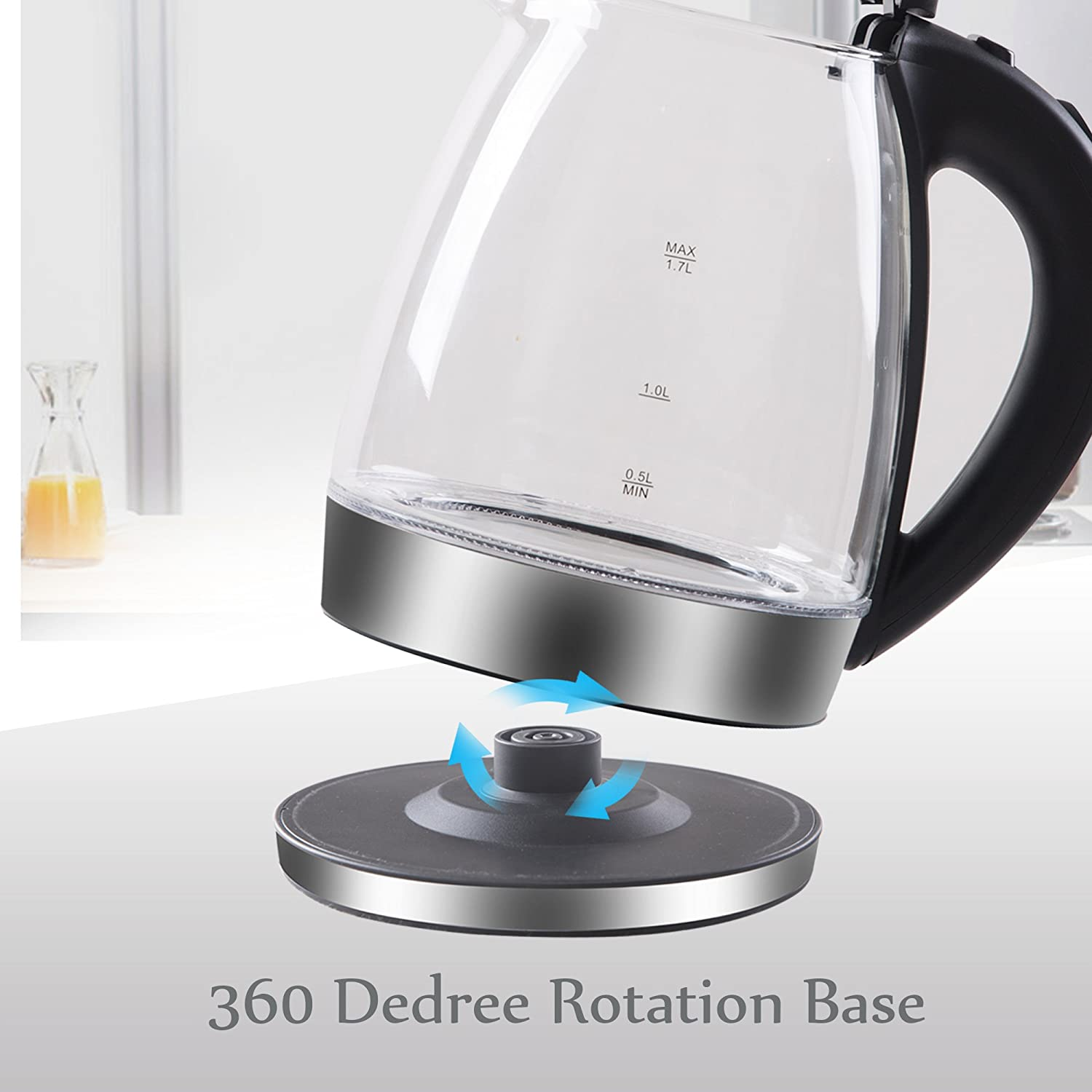 Perlity Electric Kettle Glass Boiling-Portable Blue LED and Automatic Closing with 1.7L