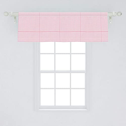 Ambesonne Picnic Window Valance, Continuous Gingham Check Simplistic Concept Buffalo Squares Illustration, Curtain Valance for Kitchen Bedroom Decor with Rod Pocket, 54 X 18 , Baby Pink and White