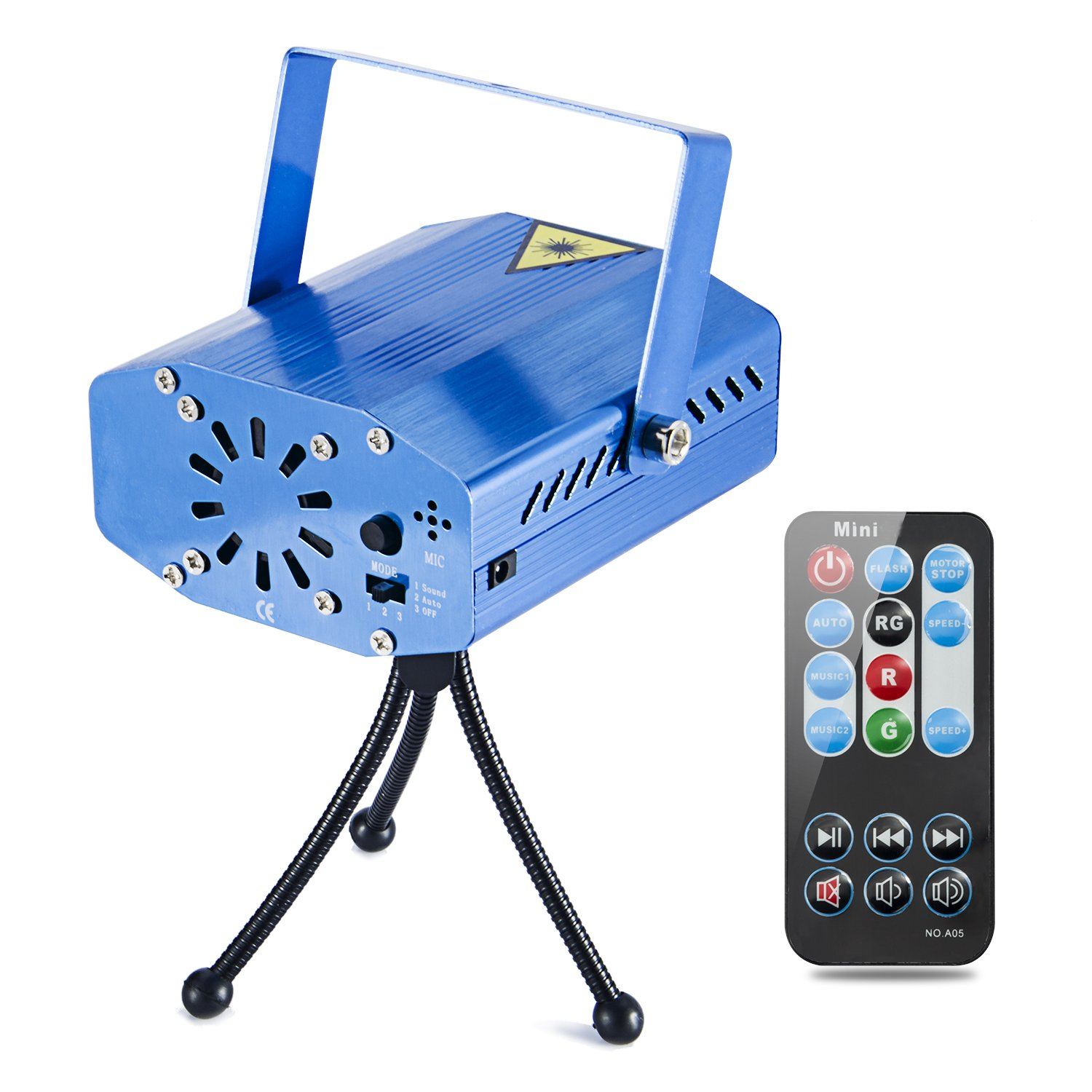 Coidea MIni LED Strobe 7 Modes Sound Actived Auto Flash Rgb Led Stage,Disco, DJ Lights with Remote Control (Blue) COIDEA-LIGHT-7M-B