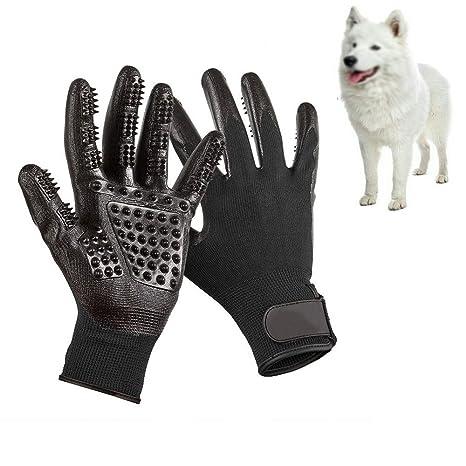Guantes de 5 Dedos Manopla Masaje para Perros Mascotas Gatos, con el Material Transpirable, Retiro del Pelo y Aparato de Masaje Guantes Eficientes ...
