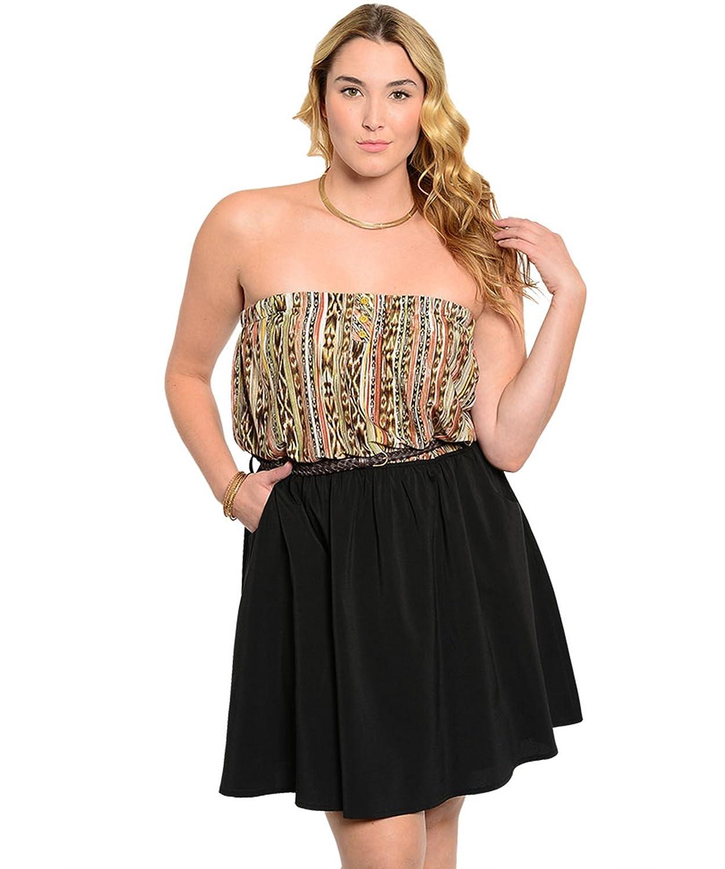 Minikleid / Freizeitkleid / Frühlingskleid / Sommerkleid mit Ethnoprint, Bandeauform, trägerlos - schwarz / beige / braun