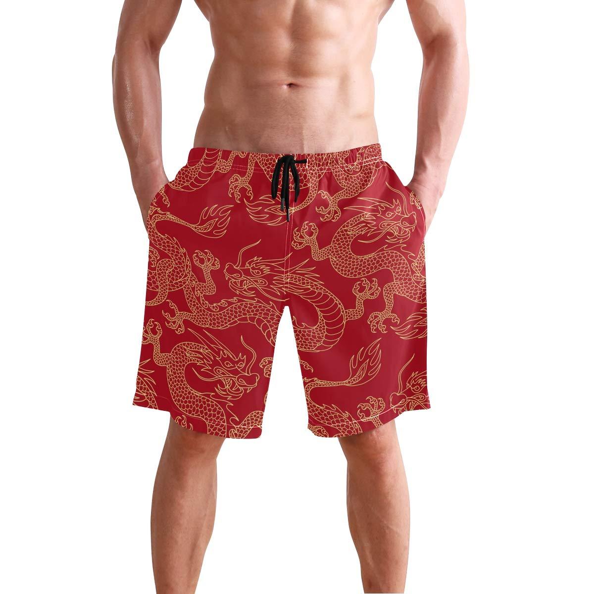 Mens Swim Trunks China Myth Golden Dragon Red Drawstring Boardshorts