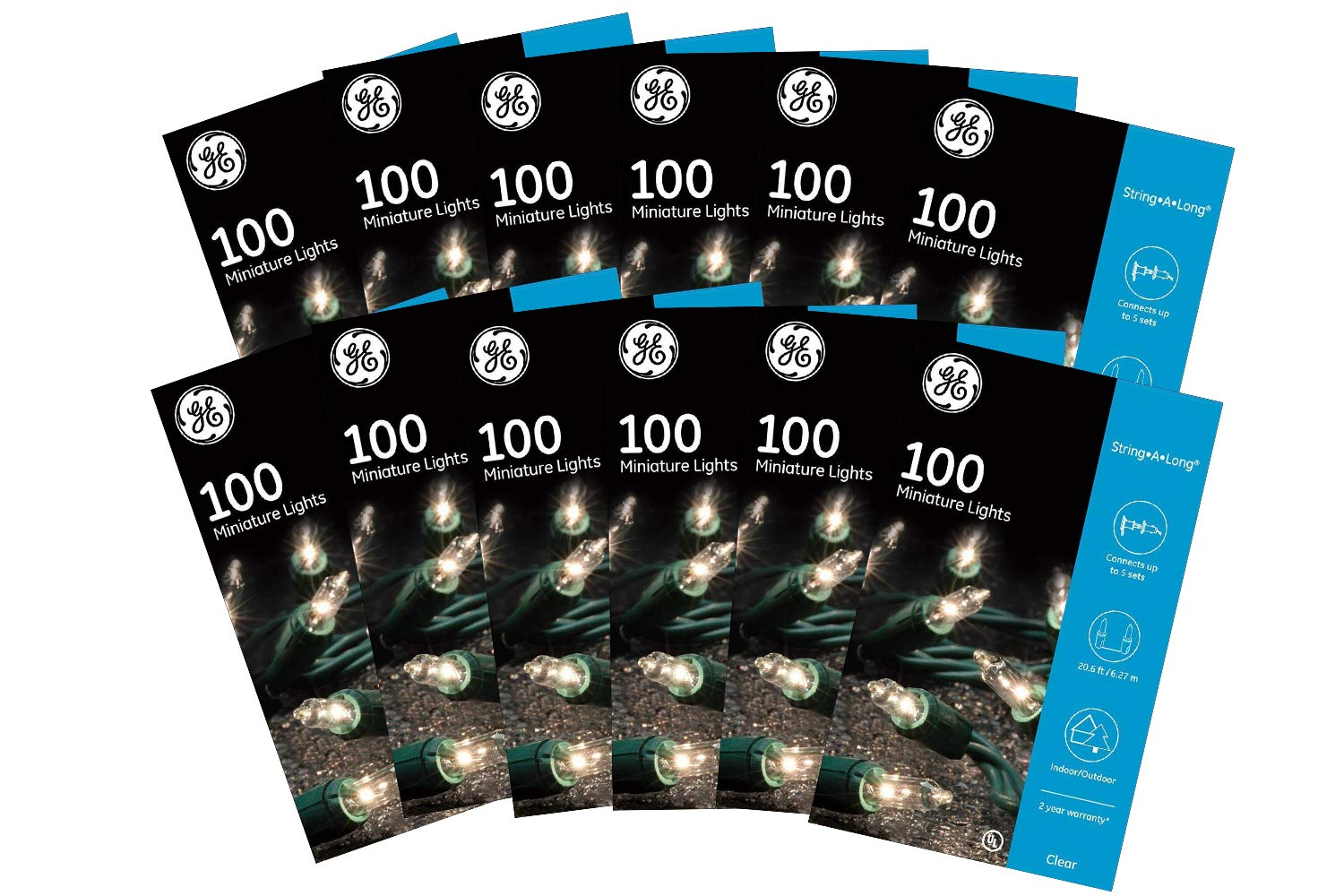 String Lights GE String A Long 100 Count Outdoor 12 Pack - Can Be Used for Indoor Also - Mini Clear White Holiday/Party Lights Set on Green Wire (12 Pack)