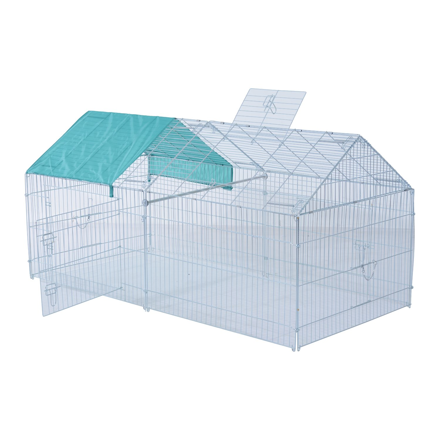 PawHut 80  x 40.5  x 39  Small Animal Enclosure Rabbit cage Dog Pet Metal Net Outdoor Run Play with Cover