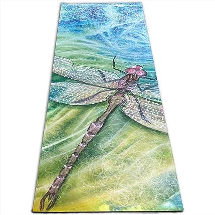 Amazon.com: Jessent Yoga Mat Non Slip Dragonfly 24 X 71 ...