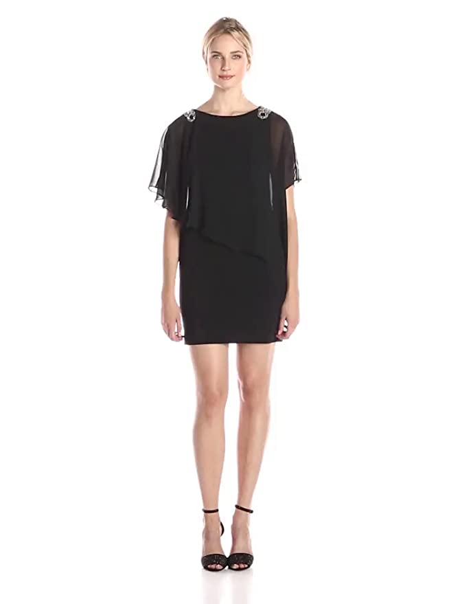 27e77347369 Amazon.com: Xscape Women's Dress with Chiffon Overlay and Shoulder Trim:  Clothing