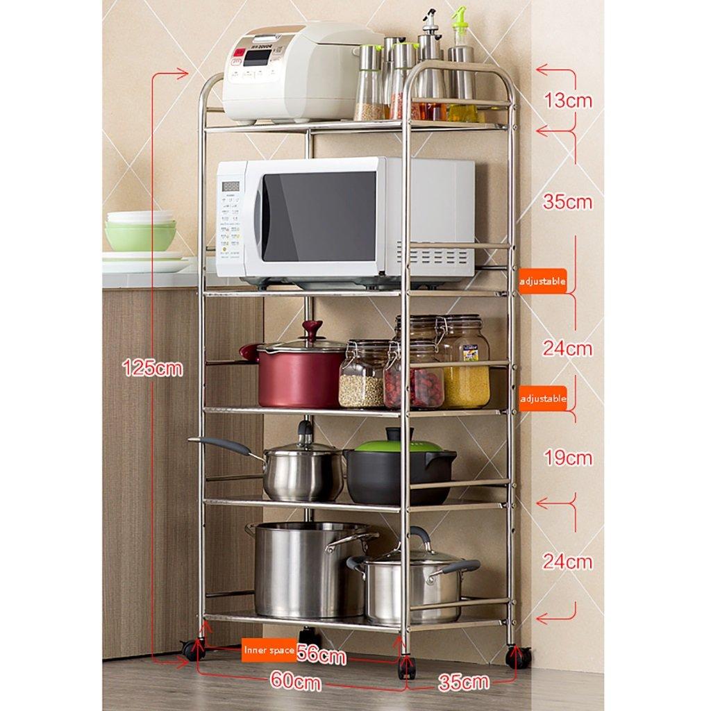 LXLA棚棚収納棚電子レンジオーブンキッチン床置き多層ステンレス製のキッチン用品5段階5階(利用可能な40/50/60×35×125cm) ( サイズ さいず : 50 cm 50 cm ) B07BGY8YHG 50 cm 50 cm 50 cm 50 cm