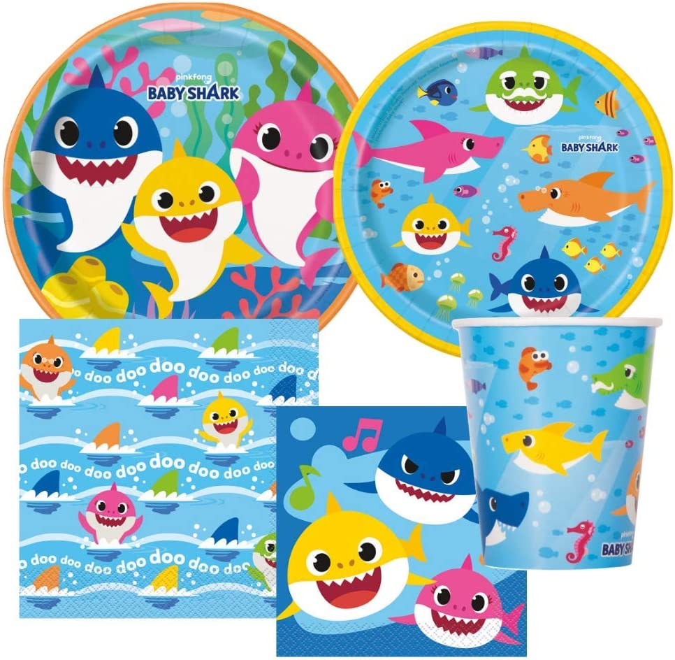 Shark Party Birthday Tableware Includes Dinner Plates, Dessert Plates, Lunch Napkins, Beverage Napkins and Paper Cups for 8 Guests