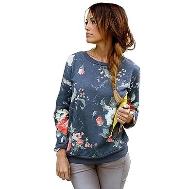 brand new 03a50 c3d0b DoubleYI Damen Pullover Langarm Sweatshirt Blumen Blusen Tops Oberteile  Frauen Frühling Herbst