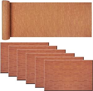 BeChen Placemat Matching with Table Runner,Cross-Weave Heat Resistant Placemat Washable Table Mats Sets(6pcs Placemats + 1 Table Runner, Orange)