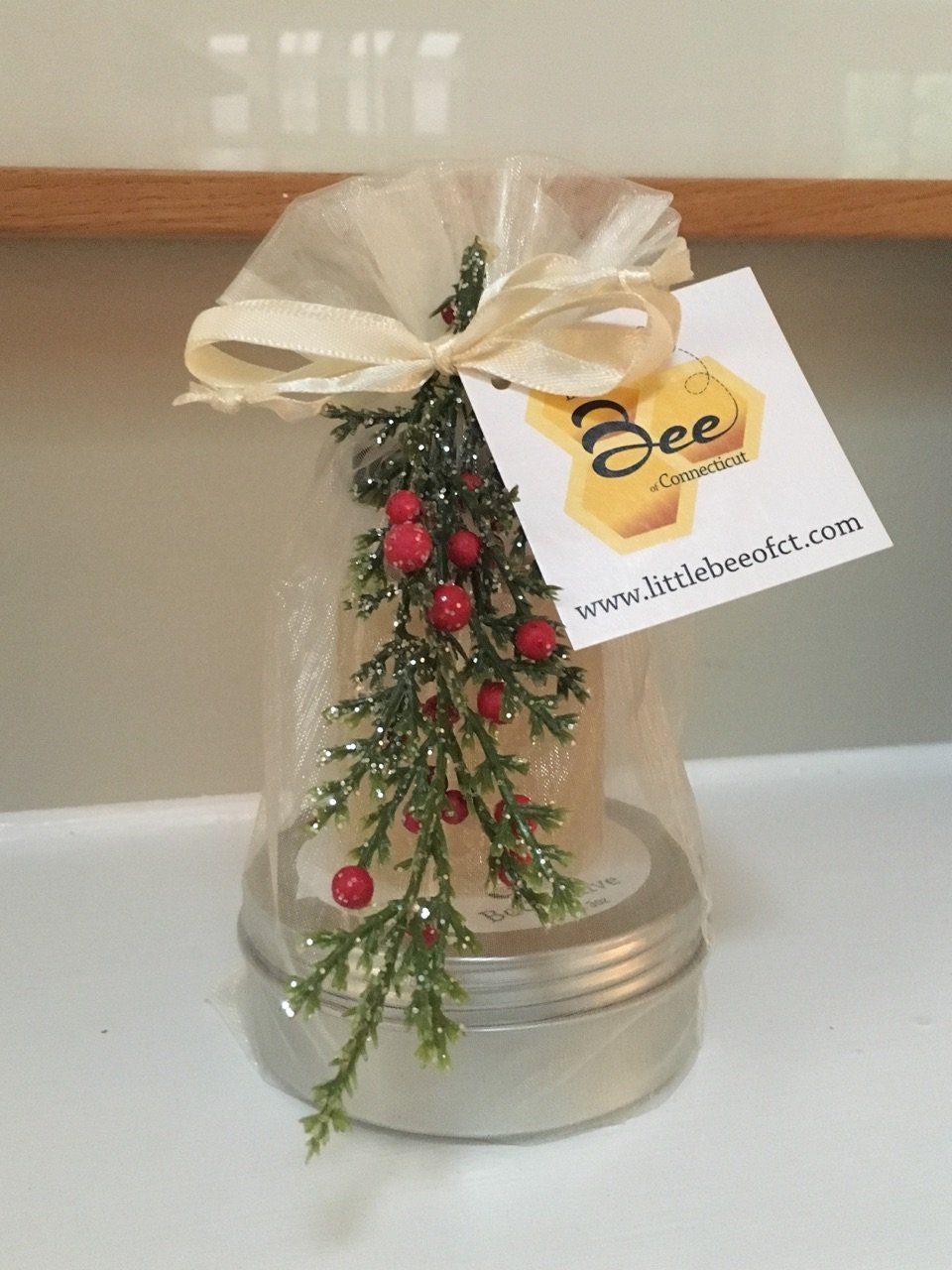 Little Bee of CT Gift Tower (Lemon Lip Balm, Votive Candle, & Scented Body Salve) - A Martha Stewart American Made Maker