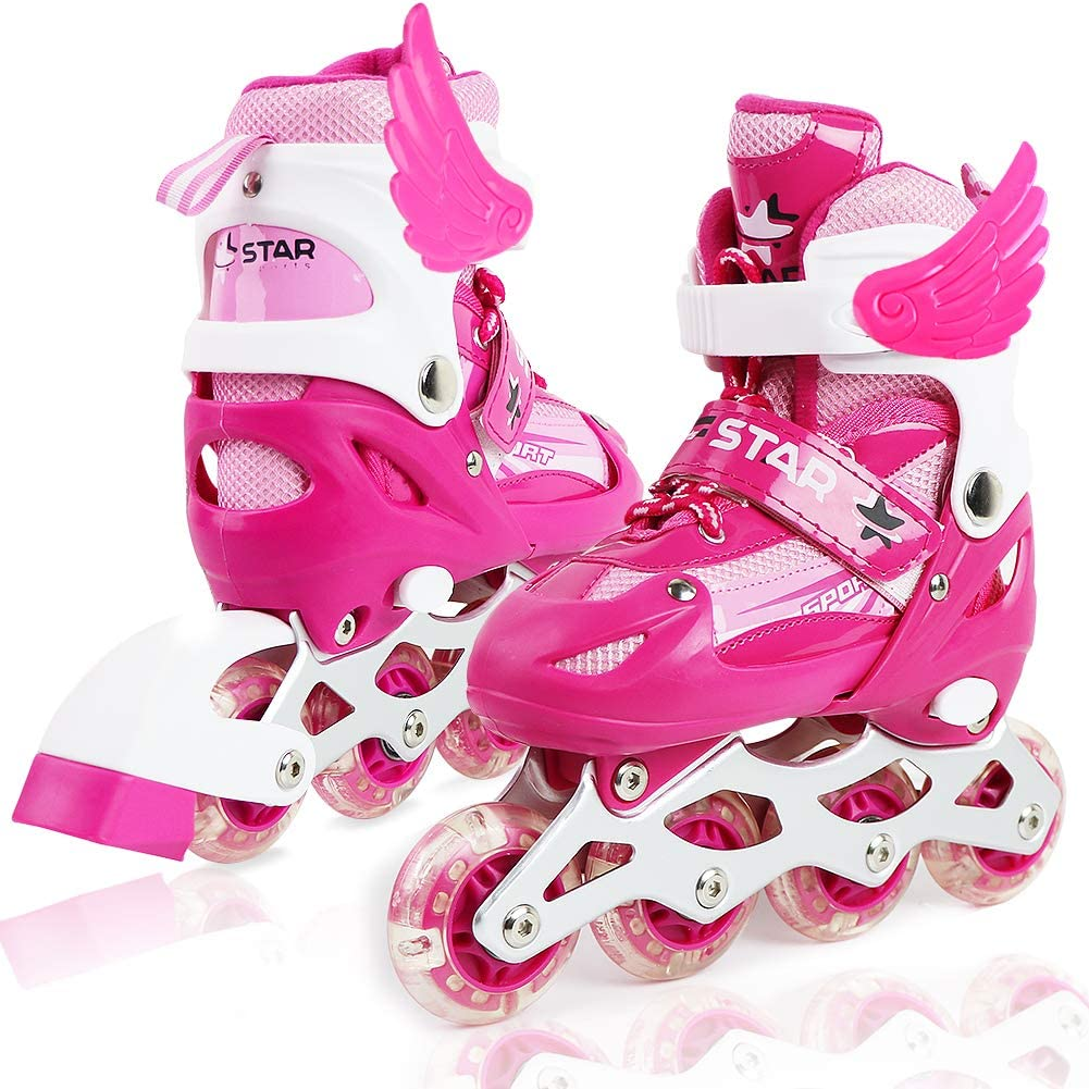 ZALALOVA Kids Adjustable Inline Skates, Safe and Durable Roller Skates for Girls with Breathable Mesh Rollerblades- Featuring All Illuminating Wheels