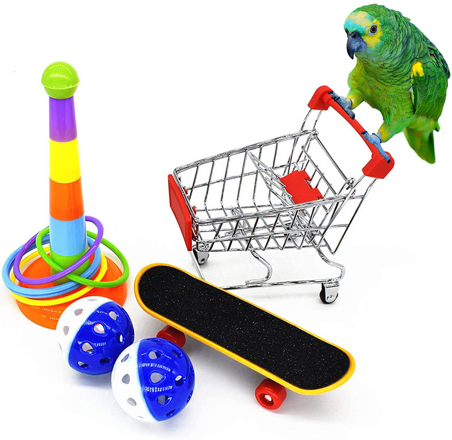 N/W 5 Pcs Parrot Toys, Parakeet Toys Cockatiel Toys, Mini Shopping Cart, Training Rings,Toy Skateboard Stand Perch and Ball, Bird Toys for Budgie Parakeet Cockatiel Conure Lovebird