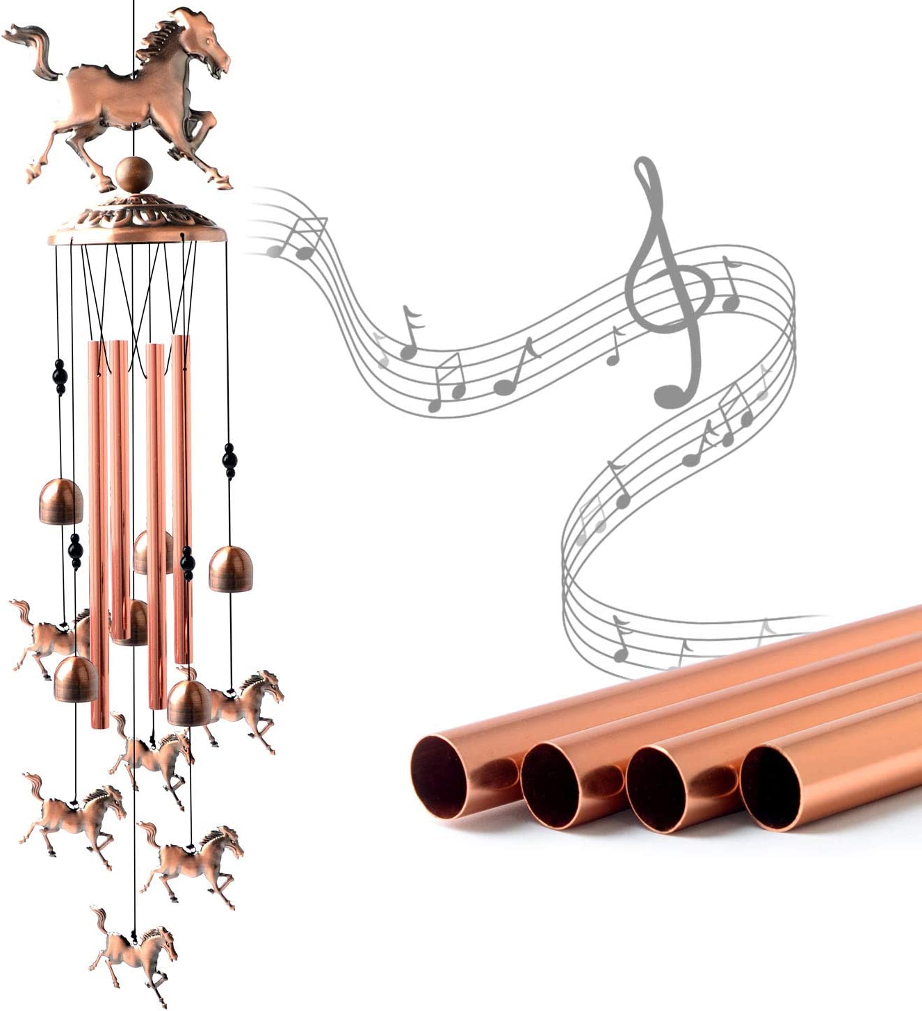 JOBOSI Horse Wind Chimes, Copper Wind Chime, Wind Chimes Outdoor, Horse Gifts, Garden Decor, Yard Decor, Garden Gifts, Memorial Wind Chime, Luck Wind Chime, Gifts for Friends