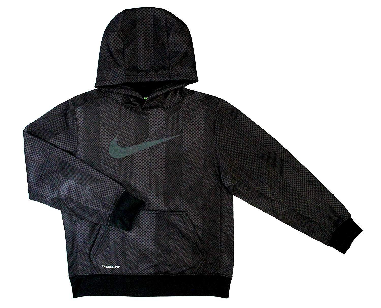 Nike Boy's 7-18 KO 3.0 Allover Print Pullover Boys' Training Hoodie (M 10-12) Black