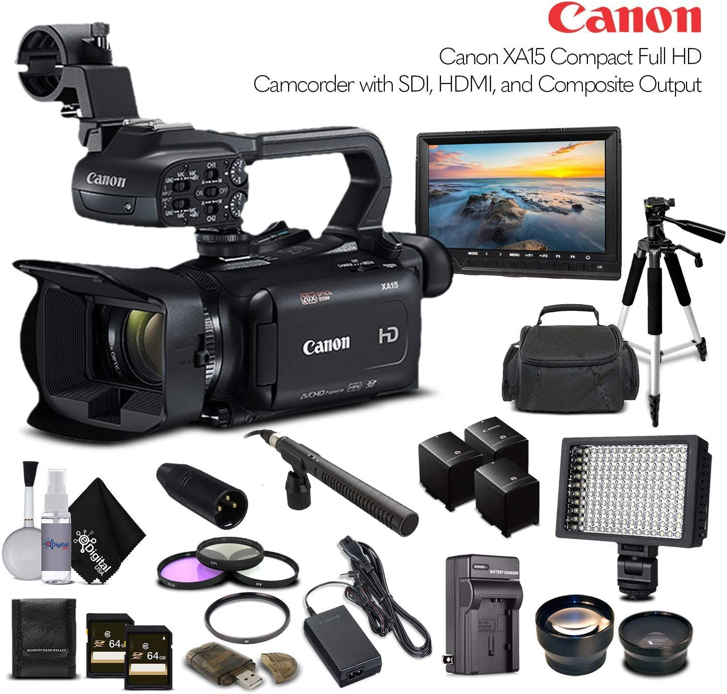 Professional Bundle Case LED Light Canon XA15 Compact Full HD Camcorder 2217C002 with 2-64GB Cards Tripod 2 Extra Batteries and Charger Screen and Sony MDR-7506 Headphones Rode VM-GO Mic