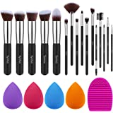 Syntus Makeup Brush Set 16 Makeup Brushes & 4 Blender Sponges & 1 Cleaning Pad Premium Synthetic Foundation Powder Kabuki Blu