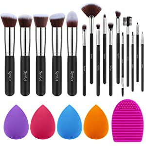 Syntus Makeup Brush Set, 16 Makeup Brushes & 4 Blender Sponge & 1 Brush Cleaner Premium Synthetic Foundation Powder Kabuki Blush Concealer Eye Shadow Makeup Brush Kit, Black Silver