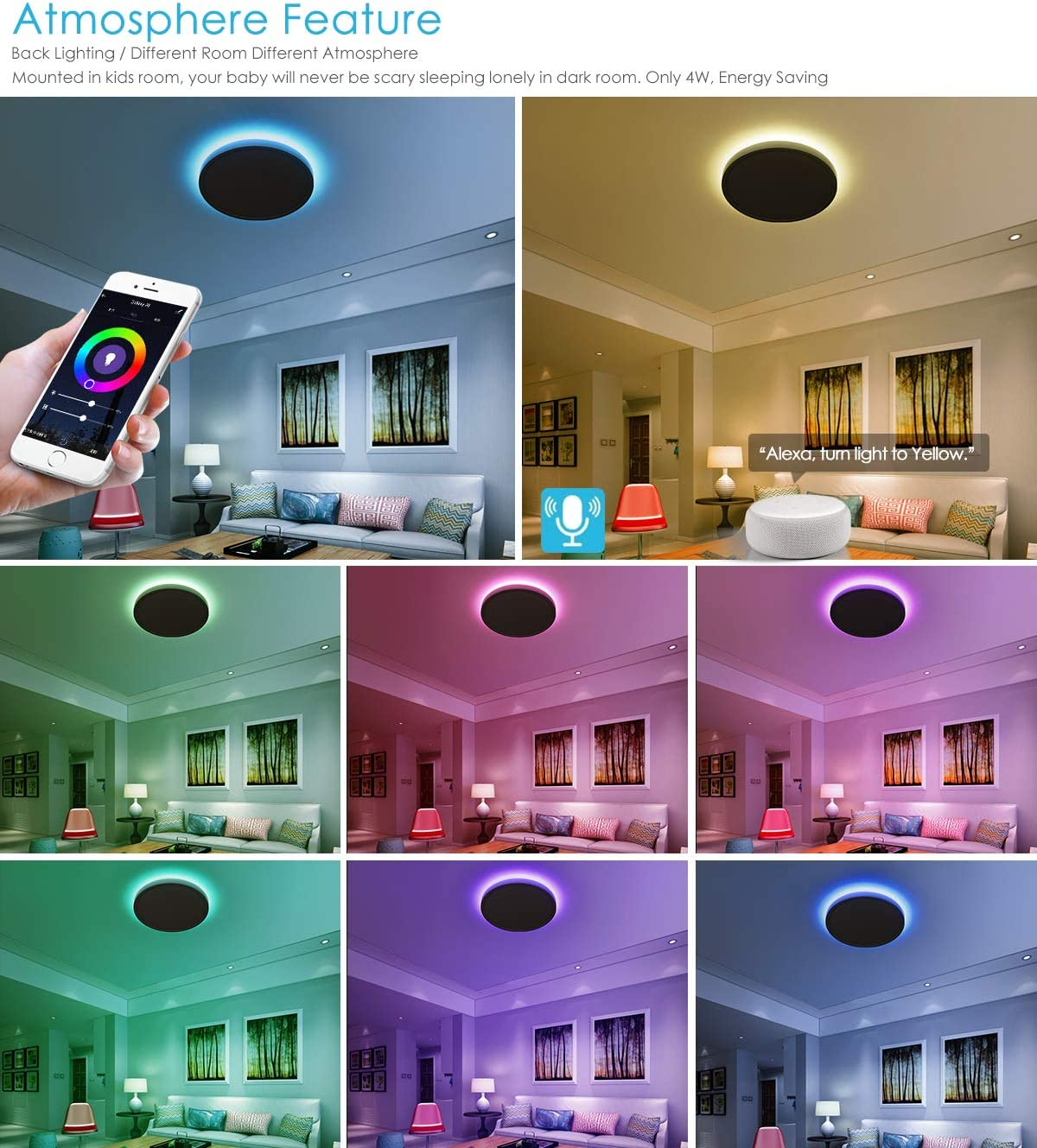 Easy Installation Compatible with Alexa 12 Inch, 24W Dimmable 12 Inch Low Profile LED Surface Mount Light Fixture for Bedroom Living Room TALOYA Smart Ceiling Light LED Flush Mount WiFi