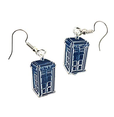 DR Who Inspired Blue Tardis Earrings - Police Box Jewellery - Doctor Who Fashion Earrings RghMr