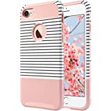 iPhone 7 Case,ULAK [Colorful Series] Slim Hybrid [Scratch Resistant] Hard Back Cover [Shock Absorbent] TPU Bumper Case for Apple iPhone 7 [4.7 inch] Rose Gold/Black Stripe