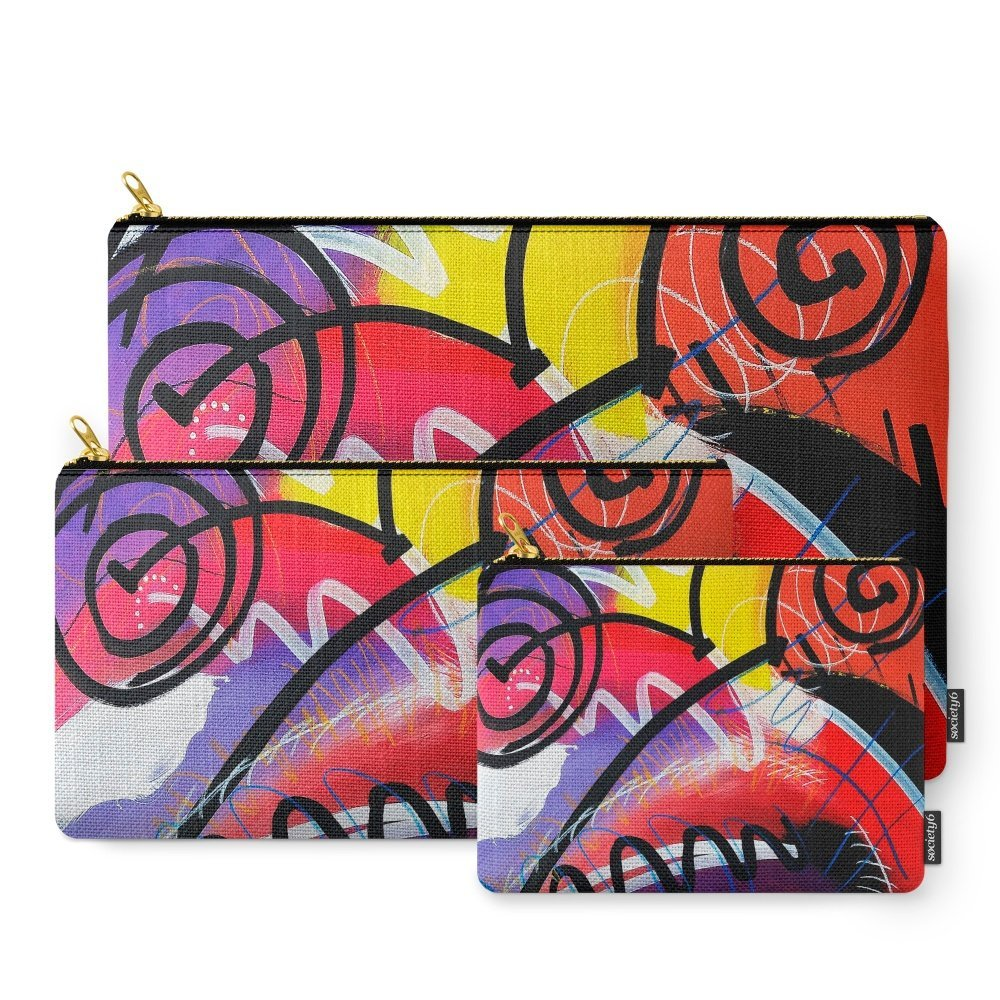 Society6 I Feel Fine - Whirly Swirls Splashy Aqua Turquoise Blue Red Yellow Fine Art Abstract Painting Carry-All Pouch Set of 3