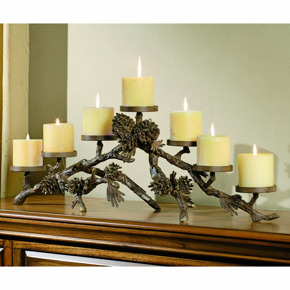 amazon com spi home pinecone mantlepiece aluminum candelabra