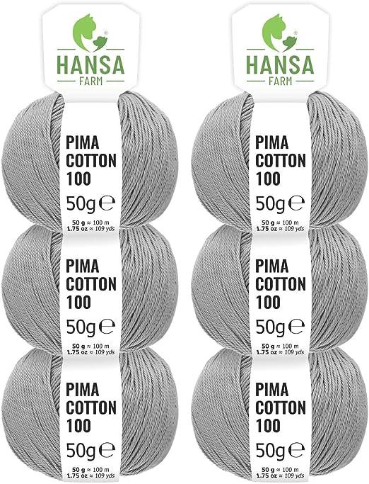 HANSA-FARM 100% algodón (Pima Cotton) DK en 12 Colores - 300g Hilo ...