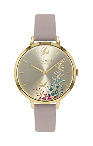 Sara Miller The Wisteria Collection SA2046 - Reloj de Pulsera (Correa de Piel, Chapado en Oro), Color Rosa: Amazon.es: Relojes