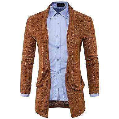 RETUROM Ropa de Abrigo para Hombre, Moda Hombre suéter de Punto sólido Chaqueta Larga Cardigan: Amazon.es: Ropa y accesorios