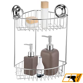 MaxHold No Drilling/Suction Cup Double / Two Tier Corner Shower Caddy  Organizer Basket