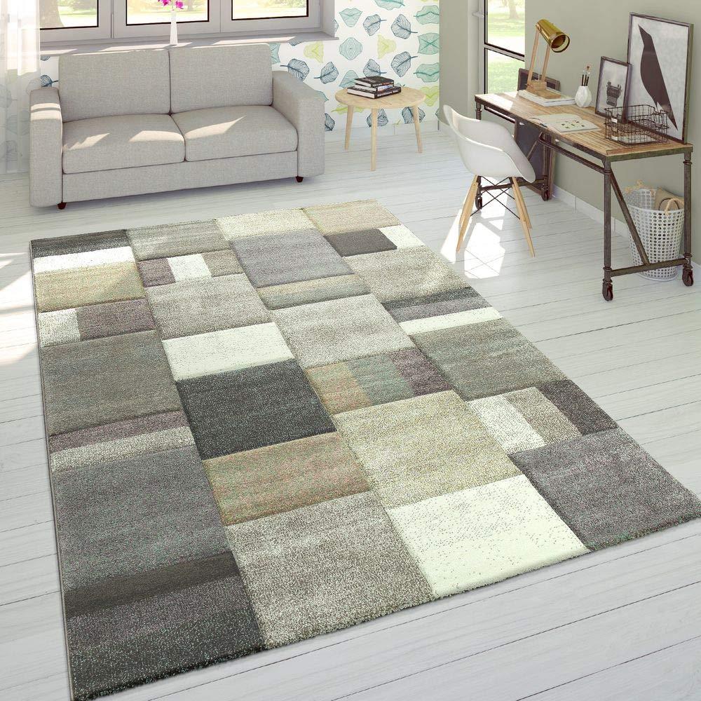 Designer Teppich Modern Konturenschnitt Moderne Pastellfarben Kariert Beige Lila