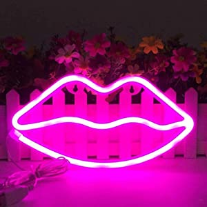 Lip Shape Neon Signs for Wall Decor,USB or Battery Decor LED Signs, LED Lights for Bedroom, Neon Lights for Bar,Christmas,Party,Baby,Kids, Girls Living Room(Pink)