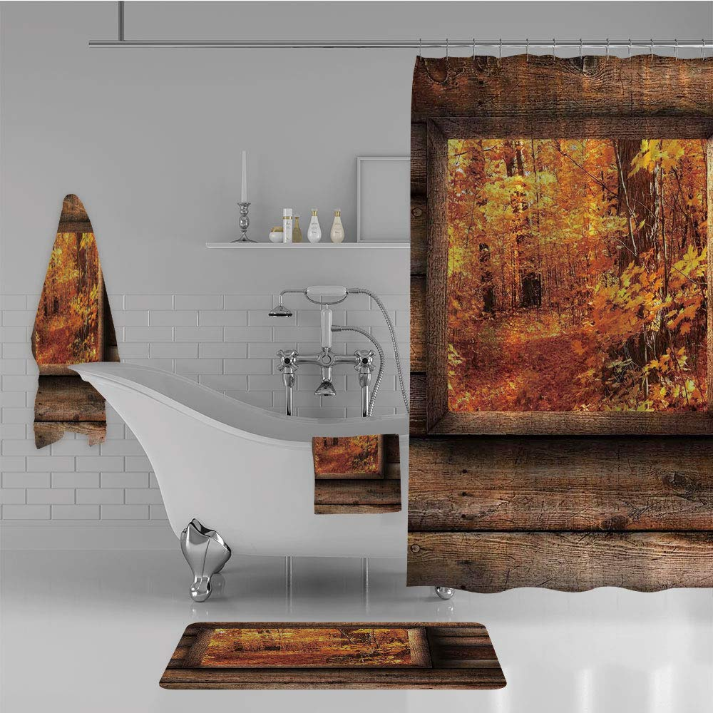 iPrint Bathroom 4 Piece Set Shower Curtain Floor mat Bath Towel 3D Print,View from Square Shaped Wooden Window Inside,Fashion Personality Customization adds Color to Your Bathroom.