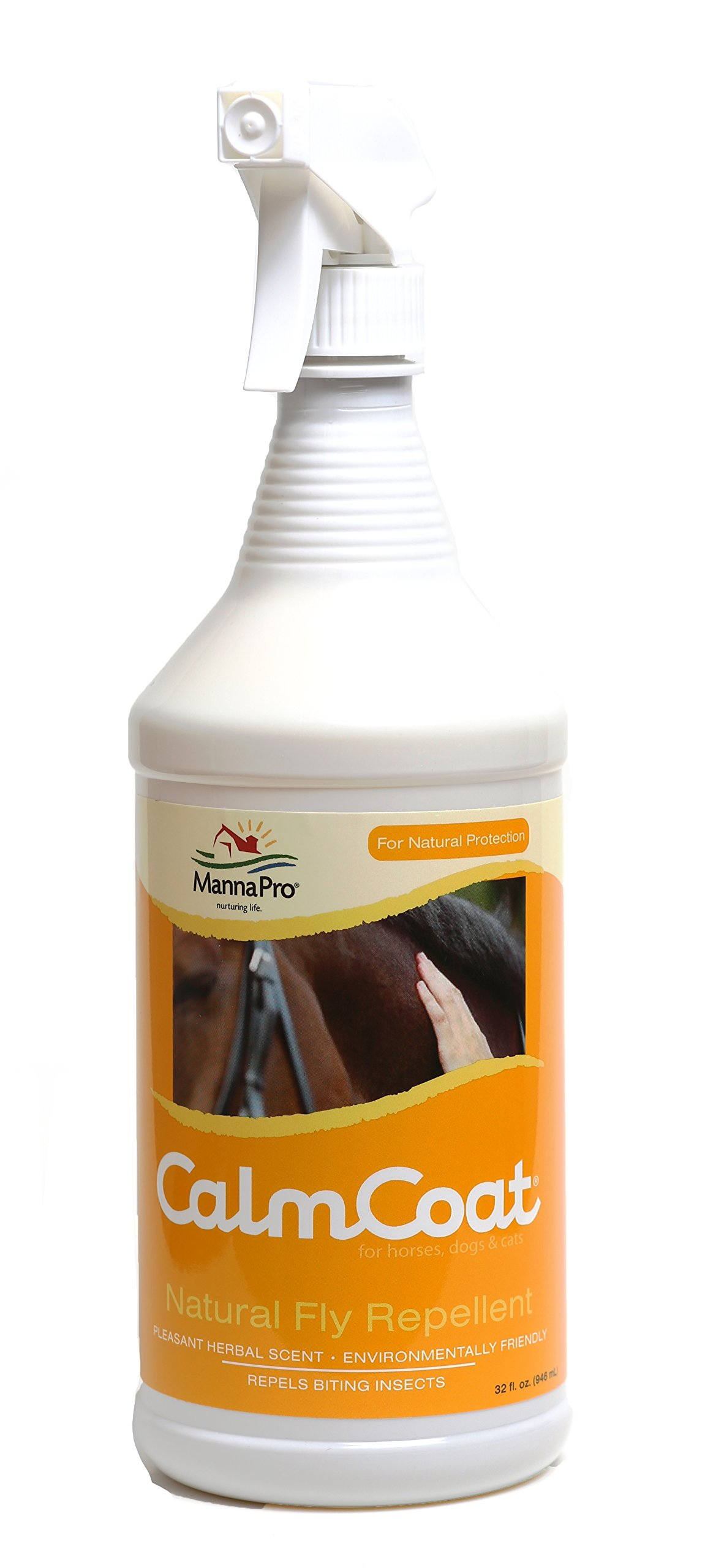Calm Coat Natural Fly Repellent for Horses Dogs & Cats - Daily Citronella Spray Ointment - Easier Than Masks or Sheets - Mosquito & Insect Control - 32 oz by Calm Coat