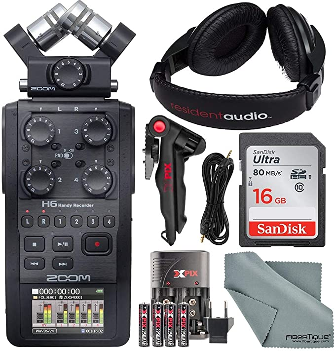 Zoom H6 Handy Recorder with Interchangeable Microphone System 2X H/&A Professional Omni-Directional Lavalier XLR Microphone